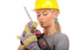 Lady construction worker Stock Images