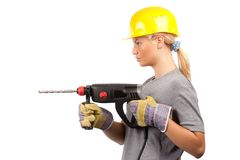 Lady construction worker Royalty Free Stock Images
