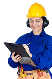 Lady construction worker Royalty Free Stock Photos