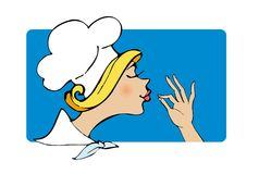 Lady cook. In white cap Royalty Free Stock Photography