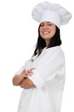 Lady cook with raised arms Stock Photo