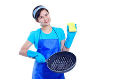 Lady And Cooking Pan Royalty Free Stock Images