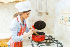 Lady cooking Royalty Free Stock Images
