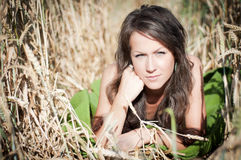 Lady in a corn field Royalty Free Stock Photography