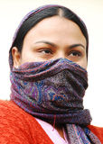 Lady with a covered face Royalty Free Stock Photography