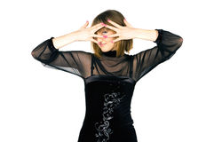 Lady covering her face with her hands Stock Image