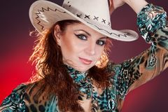Lady in a cowboy hat Royalty Free Stock Photo