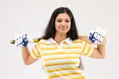 Lady with the cricket bat Stock Photography