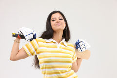 Lady with the cricket bat Royalty Free Stock Photo