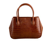 Lady crocodile leather handbag Stock Photo