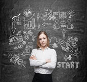 Lady with crossed hands is brainstorming and trying to run a start up. Black talk board as a background. Stock Photos