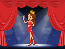 A lady with a crown at the stage Royalty Free Stock Image