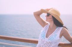 Lady on a cruise Stock Photos