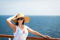 Lady on a cruise Royalty Free Stock Photos