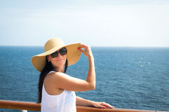 Lady on a cruise Stock Images