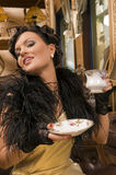 Lady from cup royalty free stock photography