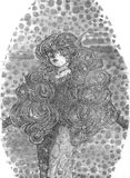 Lady With Curls And Locks. An imaginary ink illustration of a lady with curls and locks Royalty Free Stock Photo