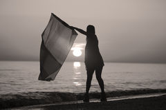 Lady dancing with a flag Stock Photography