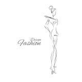Lady-design. Vector fashion model. Vector sketch silhouette. Vector vintage lady. Dress pencil sketch. Vector fashion outline. Vector style lady. Vector fashion Stock Illustration