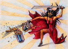Lady destroys the jar by sword - illustration on paper - comics. Style Royalty Free Stock Photo