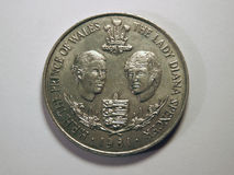 Lady Diana and Prince of Wales. Ocassional british coin royalty free stock image