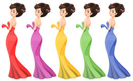 A lady in different gowns royalty free illustration