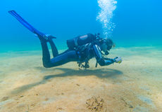 Lady diver. Female scuba Diver taking photos during a dive Royalty Free Stock Photography