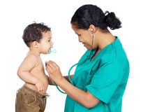 Lady doctor with a baby stock image