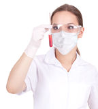 Lady doctor or chemist in laboratory Stock Images