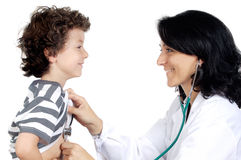 Lady doctor with a child Stock Photos