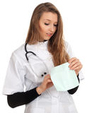 Lady doctor and envelope Stock Photo