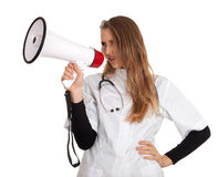 Lady doctor and megaphone Stock Photography