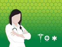 Lady doctor with stethoscope on green background Stock Photo