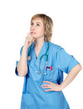 Lady Doctor thinking. Over a white background Royalty Free Stock Photos