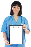 Lady doctor whit clipboard Stock Image