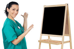 Lady doctor whit slate Stock Photography