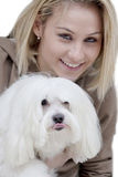 Lady with dog Royalty Free Stock Image