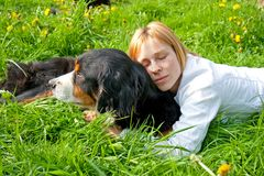 Lady and dog dreaming Royalty Free Stock Image