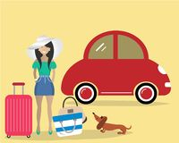 The lady with the dog goes on vacation. Vector illustration. There is a woman in a white hat near the red car on the picture Stock Photo