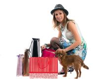 Lady with dog isolated on white background Royalty Free Stock Images