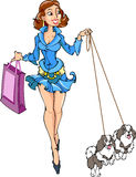 Lady with the dogs. Girl in a blue dress on a walk with young dogs. In her hand bag for shopping. Illustration made ​​in the style of comics on a white Stock Photos