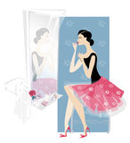 Lady doing make up. Pretty young woman doing make up looking at mirror royalty free illustration