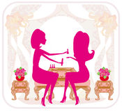 Lady doing manicure in beauty salon , abstract card. Illustration Royalty Free Stock Photo