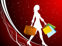 Lady doing shopping. On dotted background royalty free illustration
