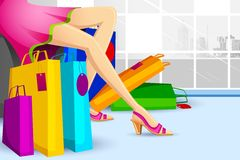 Lady doing Shopping in Sale. Illustration of lady doing shopping in sale with colorful carry bag Stock Photo