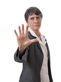 Lady doing stop Stock Images