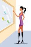 Lady doing window shopping Stock Images