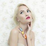 Lady doll. Fashion art photo of beautiful lady doll with blue eyes Stock Photos