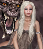 Lady Dragon. Beautiful girl with long white hair and a dragon's head from behind Stock Images