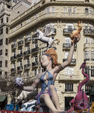The lady and the dragon. A model of a lady and a dragon on Falles in Valencia Stock Images
